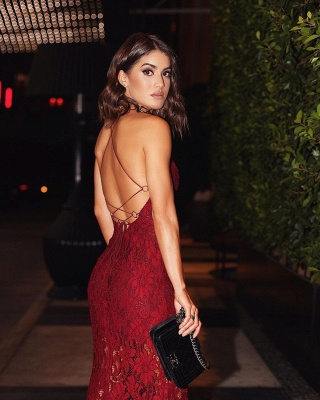 Backless Burgundy Two-straps Sexy Lace Prom Dress BA6784_2