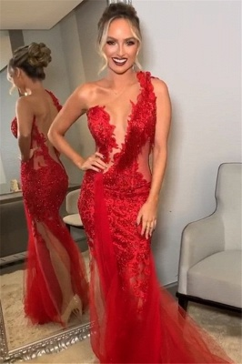 Burgundy One-Shoulder Backless Mermaid Prom Dresses | Sexy Lace Applique Tulle Evening Gown_1