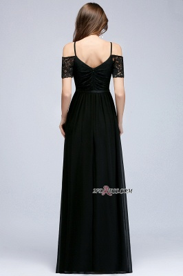 Chiffon Lace Short-Sleeves Black Sexy Cold-Shoulder Evening Dress_2