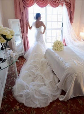 Sexy Mermaid Tulle Appliques Wedding Dress Long Train With Ruffles_2