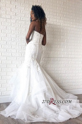 Mermaid Strapless Beading Applique Backless V-neck Wedding Dress