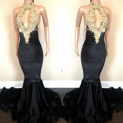 Black High-Neck Prom Dress | 2020 Lace Appliques Party Gowns On Sale_3