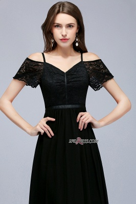 Chiffon Lace Short-Sleeves Black Sexy Cold-Shoulder Evening Dress_3