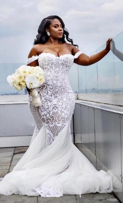 Glamorous Off-the-Shoulder Mermaid Sweetheart Wedding Dress | Lace Appliques Tulle Bridal Gown_3