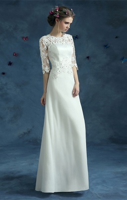 Elegant Lace Half Sleeve 2020 Wedding Dress Illusion Zipper Floor-length_1