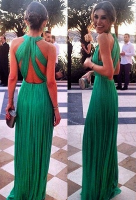 Elegant Green Long Chiffon Evening Dress Halter Cross Back_1