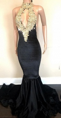 Black High-Neck Prom Dress | 2020 Lace Appliques Party Gowns On Sale_2