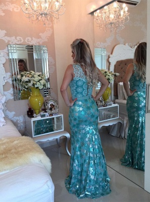 Elegant Sleeveless Lace Pearls Prom Dresses 2020 Mermaid Long Party gown BT0_5