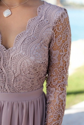 Charming V-Neck Long Sleeves Lace Prom Dress   Long 2020 Chiffon Evening Gowns_5