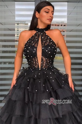 Halter Graceful Beaded Sleeveless Ball-gown Prom Dress With-tiered_1