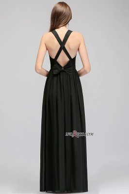 V-Neck Chiffon Crisscross A-line Black Lace Evening Dress_2