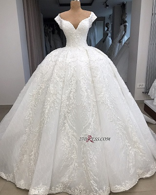 Appliques Fascinating Ball-Gown V-neck Cap-Sleeves Wedding Dresses_1