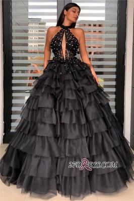 Halter Graceful Beaded Sleeveless Ball-gown Prom Dress With-tiered_2