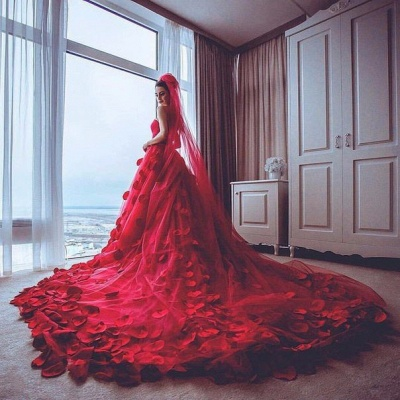 Newest Red Tulle Princess Wedding Dress 2020 Flowers Court Train_3