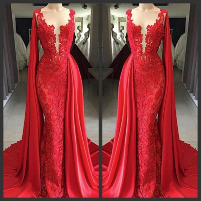 Modest Sleeveless Lace Evening Dress | Red Mermaid Prom Gown With Ruffles BC0887_2