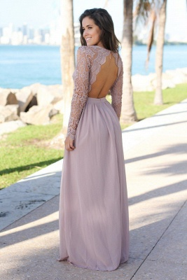 Charming V-Neck Long Sleeves Lace Prom Dress   Long 2020 Chiffon Evening Gowns_4
