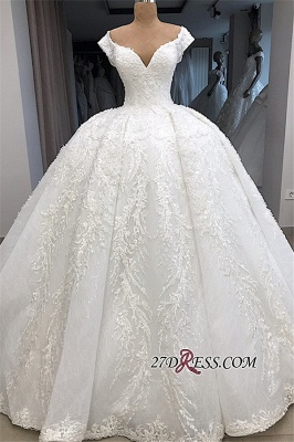 Appliques Fascinating Ball-Gown V-neck Cap-Sleeves Wedding Dresses_3