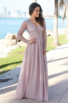 Charming V-Neck Long Sleeves Lace Prom Dress   Long 2020 Chiffon Evening Gowns_2