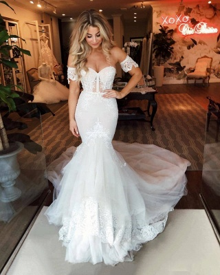 Off-the-Shoulder Puffy Tulle Wedding Dresses Mermaid Appliques Sweep Train Bridal Gowns_2