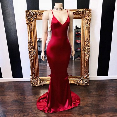 Elegant V-Neck Sleeveless Prom Dress | 2020 Mermaid Long Evening Gowns Online_2
