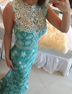 Elegant Sleeveless Lace Pearls Prom Dresses 2020 Mermaid Long Party gown BT0_4