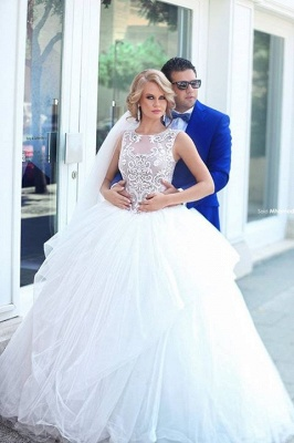 Glamorous Tulle Ball Gown 2020 Wedding Dress Lace Appliques Lace-up_1