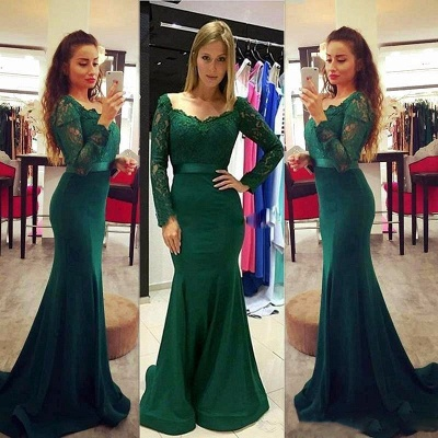 Elegant Long Sleeve Green 2020 Mermaid Lace Prom Dress On Sale_3