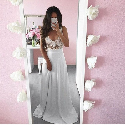 Pretty Summer White Lace Long Sleeveless 2020 Prom Dress_3