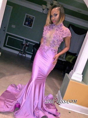 Cap-Sleeve High-Neck Mermaid Lilac Illusion Flowers Appliques Prom Dress_1