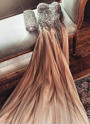 Gorgeous Sweetheart Crystal Prom Dress 2020 Long Chiffon Party Gowns_1