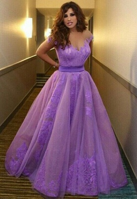 Delicate Off-the-shoulder Tulle Princess Prom Dress With Appliques_1
