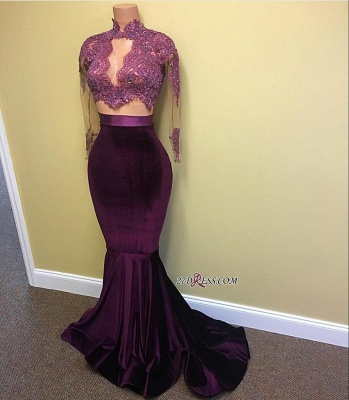 Mermaid Long-Sleeve High-Neck Lace-Appliques Modest Prom Dress CE0072_1