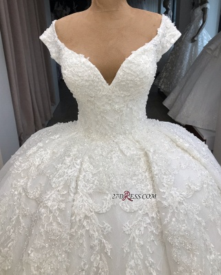 Appliques Fascinating Ball-Gown V-neck Cap-Sleeves Wedding Dresses_2