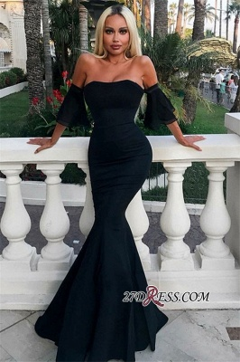 Gorgeous Half Sleeves Mermaid Strapless Evening Gowns_2