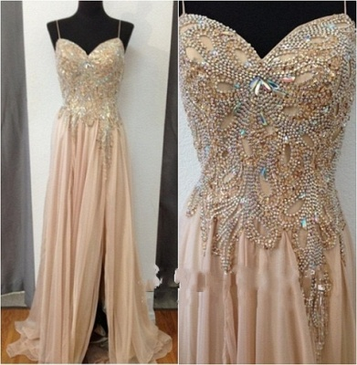 Gorgeous Sweetheart Crystal Prom Dress 2020 Long Chiffon Party Gowns_4