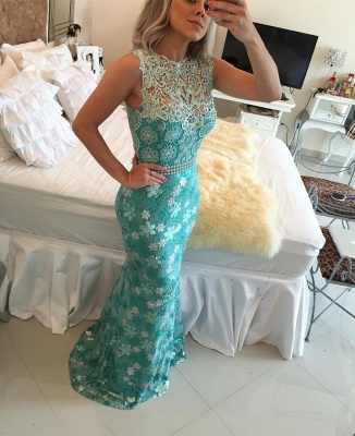Elegant Sleeveless Lace Pearls Prom Dresses 2020 Mermaid Long Party gown BT0_3