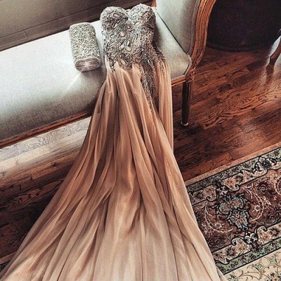 Gorgeous Sweetheart Crystal Prom Dress 2020 Long Chiffon Party Gowns_3