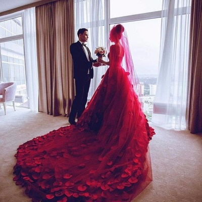 Newest Red Tulle Princess Wedding Dress 2020 Flowers Court Train_4