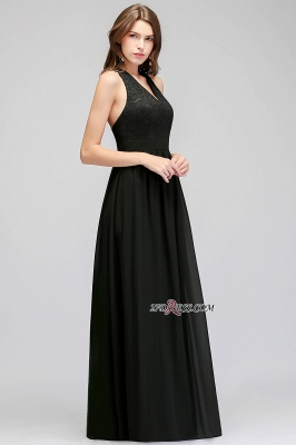 V-Neck Chiffon Crisscross A-line Black Lace Evening Dress_4