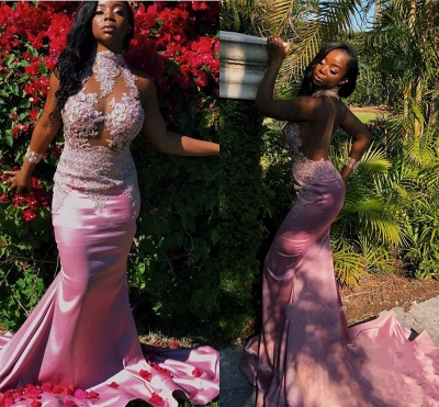 Pink High-Neck 2020 Prom Dress   Mermaid Lace Evening Gowns_3