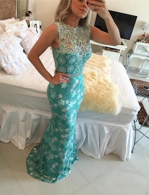 Elegant Sleeveless Lace Pearls Prom Dresses 2020 Mermaid Long Party gown BT0_1