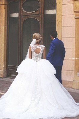Glamorous Tulle Ball Gown 2020 Wedding Dress Lace Appliques Lace-up_2
