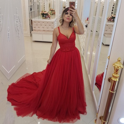 Sexy Red V-Neck Evening Dress | 2020 Mermaid Tulle Prom Dress_2