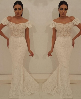 Modest Off-the-Shoulder Bubble Sleeves Prom Dress | Lace Appliques Mermaid Evening Gowns On Sale_3