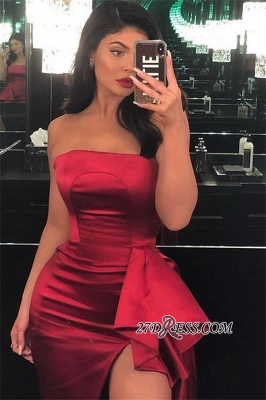 Burgundy Strapless Side-Slit Mermaid Long Prom Dress | Sexy Bateau Sleeveless Ruffle Prom Gown_3