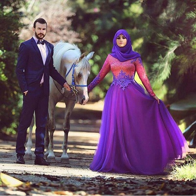 Elegant Long Sleeve Tulle Arabic Wedding Dress With Appliques_1