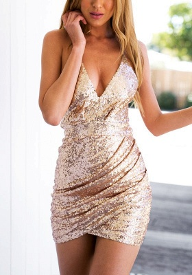 Gorgeous V-Neck Sequins Short Homecoming Dress 2020 Zipper Back BA3317_2
