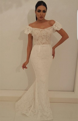 Modest Off-the-Shoulder Bubble Sleeves Prom Dress | Lace Appliques Mermaid Evening Gowns On Sale_2