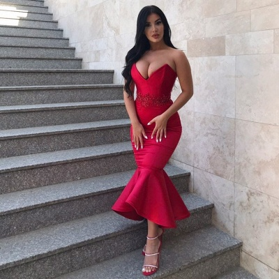 Gorgeous Sweetheart Mermaid Prom Dress   2020 Appliques Long Red Evening Gowns Tea-Length_2