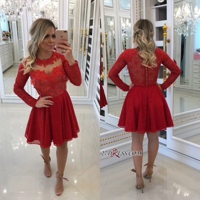 Red lace short prom dress, 2020 long sleeve homecomng dress BA8896_2